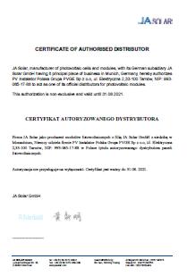 Certyfikat JaSolar dla PVGE