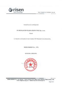 Certyfikat Risen Energy